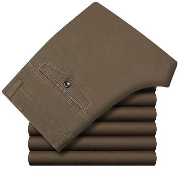 Brand Business Casual Straight High Waist Loose Workwear 100%Cotton Thick Mens Pants Classic Trousers Khaki Size 30-42 5 Colors