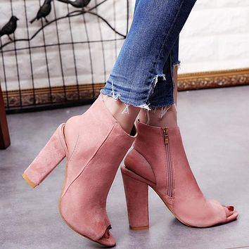 Women's Fashion Spring Summer Open Toe Boots Casual Faux Suede Ankle Boots Thick High Heels Peep Toe Boots
