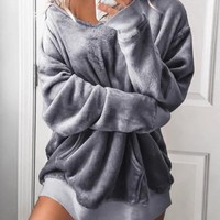 2018 Grey Pockets Hooded Going out Casual Velvet Pullover Sweatshirt
