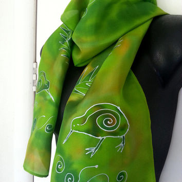 New Zealand KIWI SILK Scarf, Handpainted, Silver Ferns, Kiwiana, Handmade, NZ bird, Lime, green, Blue, Silver, Luxury Gift. Ready to Ship
