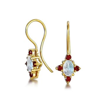 Red Garnet Oval Drop Threader Earrings 14K Gold Plated Sterling Silver