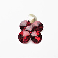 Six Scarlet 1122 12mm Foiled Swarovski Pointed Back Rivoli DKSJewelrydesigns