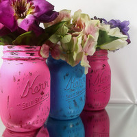 Home Decor - Set of Three, Hand Painted Mason Jars | Rustic - Style Painted Mason Jars -- Pink and Blue