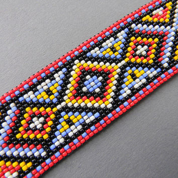 Colorful beaded  bracelet with original design - seed bead bracelet, ethnic,beaded cuff