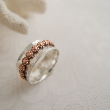 I Pick You Daisy Ring, I Pick You Spinner Ring, Sterling Silver Rings For Women, Copper Daisy Ring,, Fidget Ring, Anxiety Ring, ADHD Ring