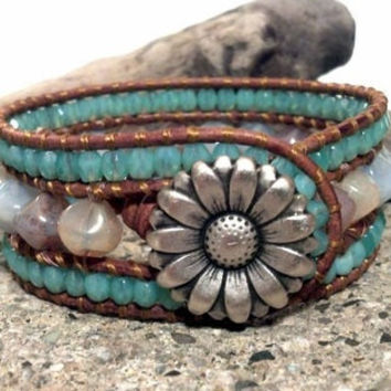 Leather Cuff Bracelet, Ocean View Cuff Bracelet, Leather Wrap Bracelet, PZW075