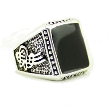 Strong Men Vintage Jewelry Square Black Stone Ring For Men Antique Silver Plated Crystal (8)