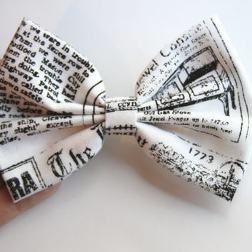 NEW - Vintage Style Newspaper Print Hair Bow - White and Black Vintage Style Newspaper Print Hair Bow with Clip