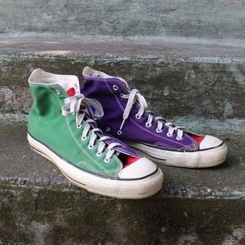 Vintage 80s Converse Chuck Taylor SNEAKERS / 1980s Orange Purple Green Made in USA Hi