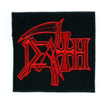 Red Death Patch Reaper Scythe Heavy Metal Iron on Applique Heavy Metal Music