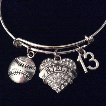 Softball Rhinestone Niece Heart Silver Expandable Charm Bracelet Adjustable Bangle Gift