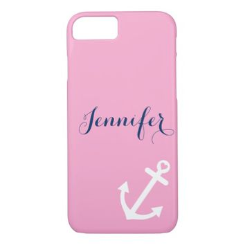 Pink Nautical Anchor Navy Blue Monogram iPhone 7 Case