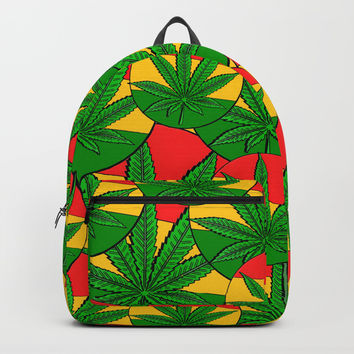Feeling Sunny Rasta Green ganja pattern, cannabis leafs, red, green, yellow colors Backpacks by Casemiro Arts - Peter Reiss