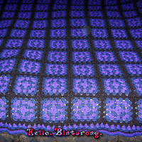Purple Blue and Black Granny Square Afghan