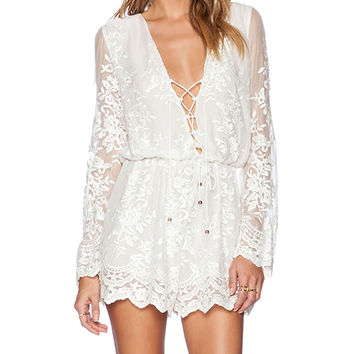 Zimmermann Essence Silk Veil Playsuit in White