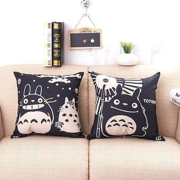 2pcs/lot Anime Totoro Style Square Linen Pillow Covers  home hotel type Chair Decorative Throw pillowcase ,