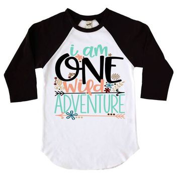 I Am One Wild Adventure Kids Raglan Shirt
