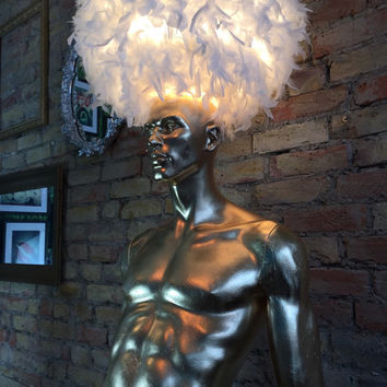 SALE - Upcycled vintage male mannequin lamp with 24 carat gold leaf and white feather lampshade
