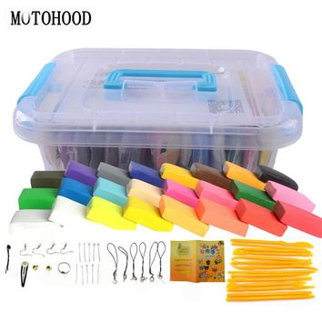 MOTOHOOD 24 colors DIY Polymer Clay Children Toys Slime Plasticine And Tool Kit Intelligent Plasticine Colorful Play Dough