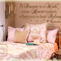 A dream is a wish your heart makes when you're fast asleep-quote with Fairy stars vinyl wall art decal sticker
