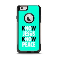 The Know Jesus Know Peace - White and Black Over Teal Apple iPhone 6 Otterbox Commuter Case Skin Set