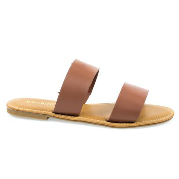 Seashore62s Tan Pu by Bamboo, Tan Women's Flat Strappy Sandal w Double Strap & Adjusta