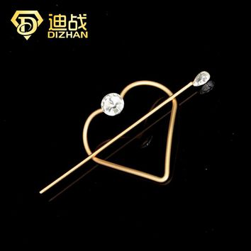 Fashion Women's Simple Round Heart Hair Pin Hair Clip Hairpins Barrette Gold Color Alloy Hair Stick Party Women Accessories