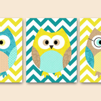 Owl Decor Owls Nursery Kids Wall Art Baby Boy Girl Nursery Print Baby Room Decor Kids Art Baby Nursery Art Boy set of 3 Yellow Turquoise /