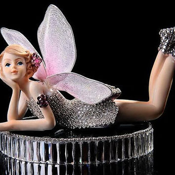 Bling Crystal Fairy Car Accessories Home Decor Girl Present Decals with Crystal Round Holder (can add the perfume)