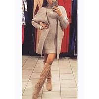 Khaki 2-in-1 High Neck Long Sleeve Bodycon Sweater Mini Dress
