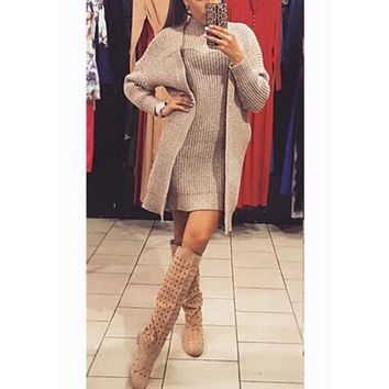 Streetstyle  Casual Khaki 2-in-1 High Neck Long Sleeve Bodycon Sweater Mini Dress