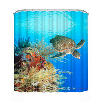 3D Underwater World Turtle Curtain Polyester Bath Shade Shower Curtains 180* 180cm