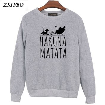 Hakuna Matata letter Print Womens Hoodies Long Sleeve O Neck Hoodie Sweatshirt Jumper Pullover Tops Autumn Winter Coat