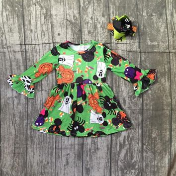 Halloween green orange dress baby girls long sleeves mouse milk silk pumpkin bow clothing boutique kids wear match bow ruffle