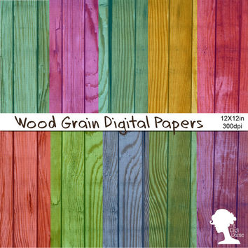 Digital Papers: Wood Grain Texture Tinted with Hot Pink, Violet, Purple, Blue, Teal, Green, Peach and Yellow
