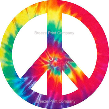 2 - 6 inch Tie dye peace sign removable vinyl wall decal girls room decor