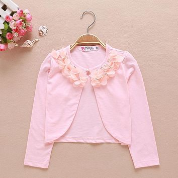 2017 Baby Girls Cardigan Sweater Flowers Long Sleeve Pink Baby Girl Jacket For 1 & 2 Year Old Toddler Baby Clothes AKC165010