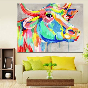 Handmade Home Decor Paintings Abstract Animal Canvas Art Cow Oil Painting On Can