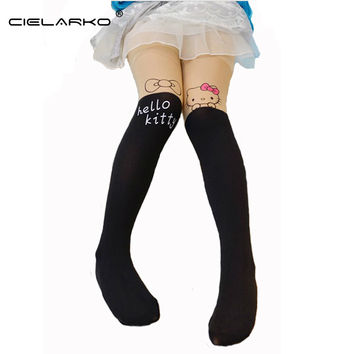 Cielarko Girls Tights Lovely Hello Kitty Bunny Velvet Stockings for Girls Cartoon Patchwork Kids Tight 607