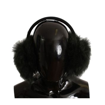 Dolce & Gabbana Green Shearling Alpaga Wool Ear Muffs