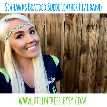 Seattle Seahawks Braided Suede Leather Headband Hawks Blue Green White Grey Bohemian Fashion Woman Girl  Hair Wrap w/ Adjustable Ribbon Ties