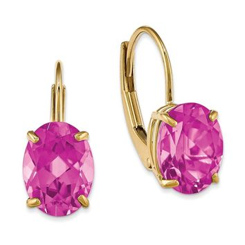 14k Yellow Gold 8x6mm Oval Pink Tourmaline Leverback Earring