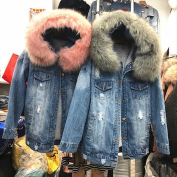 Trendy Mooirue Winter Women Denim Jacket Coat Faux Fur Collar Fleece Hooded Stright Korean Lamb Holes Coat Feminino Blue Casual Coat AT_94_13
