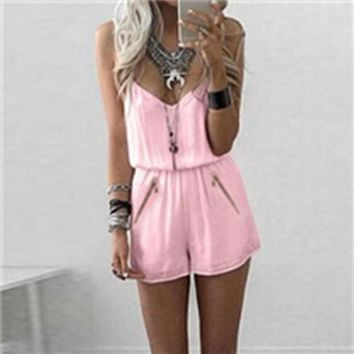 Women V-Neck Spaghetti Straps Sleeveless Catsuit Playsuit Bodysuit Slim Fit Sheathy Shorts Jumpsuits Rompers Pink