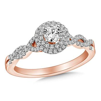 1/2 CT. T.W. Diamond Frame Twist Engagement Ring in 14K Rose Gold