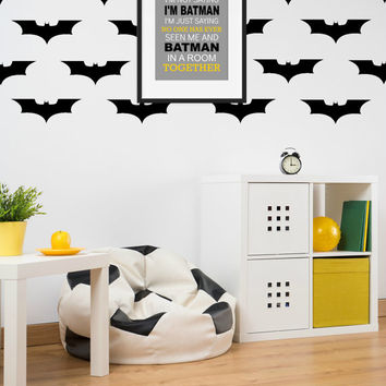 Superhero Decals, Bat Decal, Bat Kid Decor, Nursery Wall Decal, Super Hero Wall Decal, Vinyl Wall Decal, Superhero Wall Stickers, Black 20pk