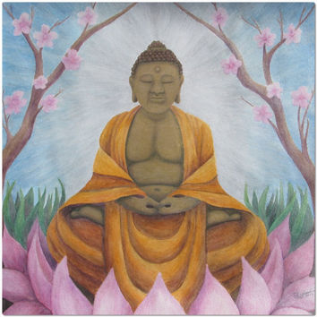 Buddha - Placemat of Acrylic Paint and Watercolor Pencil Fine Art