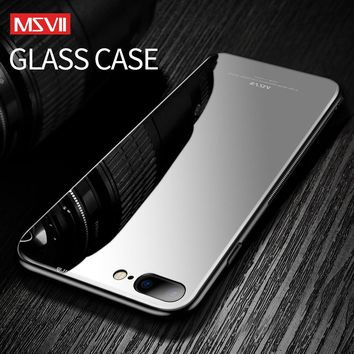 Msvii for iPhone8 Glass case iPhone 8 Case for iphone 8 7 Plus Luxury Protective Back Cover Pink Shockproof christmas for l