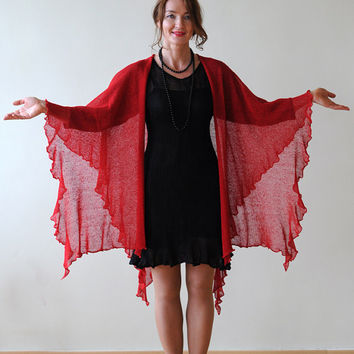 Large red linen shawl, Handmade, Knitted from Natural Eco-friendly Linen
