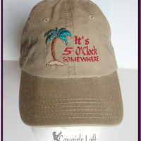 New Embroidered Cap It's 5 OClock Somewhere with Palm Tree Khaki Tan Cotton Hat